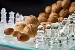 Les écrous améliorent la visualisation d'efficacité de cerveau - les échecs, échiquier avec des écrous image stock