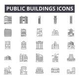 Les édifices publics rayent des icônes, signes, ensemble de vecteur, concept linéaire, illustration d'ensemble illustration stock