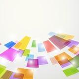 Les éléments carrés abstraits colorés lumineux volent Photographie stock