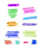 les éléments colorés tirés par la main de conception de rayures de point culminant balaye des courses Photo stock
