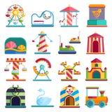 Les éléments conceptuels de ville de conception plate avec le parc d'attractions de carrousels dirigent l'illustration illustration stock