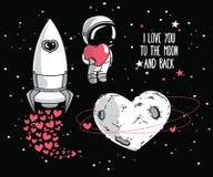Les éléments cosmiques de griffonnage mignon pour le jour de valentine conçoivent Photos stock