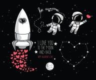 Les éléments cosmiques de griffonnage mignon pour le jour de valentine conçoivent Image libre de droits
