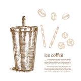 Les éléments de café et de dessin de glace, dirigent tiré par la main Photos libres de droits