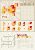 Les éléments de conception comprennent le cube en Rubiks Photos libres de droits