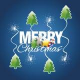 Les éléments de couleur de Joyeux Noël suscitent le vecteur de bleu de feu d'artifice Images libres de droits
