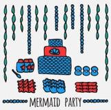 Les éléments de partie de sirène, les enfants sous-marins font la fête des idées, illustration stock