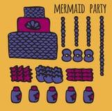 Les éléments de partie de sirène, les enfants sous-marins font la fête des idées, illustration libre de droits