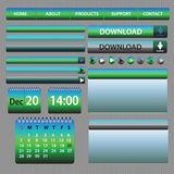 Les éléments de Web conçoivent le bleu et le vert Images stock