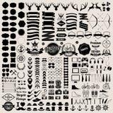 Les éléments et les icônes d'infographics de style de hippie ont placé pour le rétro desi Photos stock
