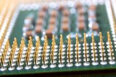 Les éléments micro de l'unité de traitement centrale d'ordinateur, goupilles de contact d'unité centrale de traitement Photo libre de droits