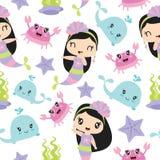 Les éléments mignons de fille et de mer de sirène dirigent l'illustration de bande dessinée pour le papier peint d'enfant Photos libres de droits