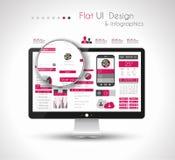 Les éléments plats de conception d'UI dans un HD moderne examinent l'ordinateur illustration libre de droits