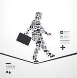 Les éléments sont de petites icônes que les finances font dans le concept d'homme d'affaires Photo libre de droits