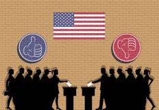 Les électeurs américains serrent la silhouette dans l'élection avec des icônes de pouce illustration stock