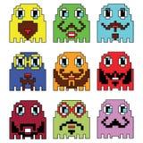 Les émoticônes de hippie de Pixelated inspirées par la représentation visuelle de jeux d'ordinateur de vintage des années 90 vari Photo stock