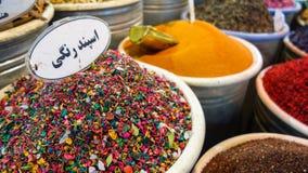 Les épices lancent sur le marché dans le bazar grand, Téhéran Images libres de droits