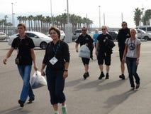 Les équipes de sports viennent au parc olympique RUSSE 2014 de la FORMULE 1 de Sotchi Autodrom GRAND PRIX Images libres de droits