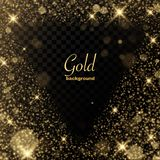 Les étincelles d'or époussettent l'ensemble transparent d'objets illustration libre de droits