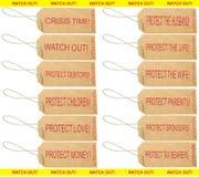 les étiquettes d'inscriptions à l'extérieur observent Images libres de droits