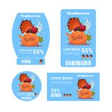 Les étiquettes de jour de thanksgiving de vente ont placé la collection d'icône d'Autumn Holiday Discount Price Promotion Images libres de droits