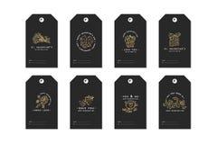 Les étiquettes heureuses de jour de valentines ont placé avec les salutations de typographie et l'icône d'or E Illustration linéa illustration de vecteur