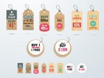 Les étiquettes ou les labels en vente méga avec la remise offrent illustration de vecteur