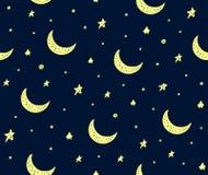 Les étoiles et la lune tirées par la main mignonnes dirigent le modèle bleu-foncé illustration de vecteur