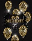 les étoiles et le joyeux anniversaire souhaite sur le fond de textile Images stock