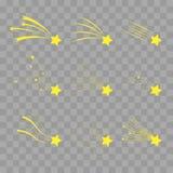 Les étoiles filantes dirigent l'ensemble  Icônes des météorites et des comètes tomber Images stock