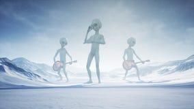 Les étrangers chantent et jouent des guitares sur leur planète à la maison de neige rendu 3d illustration libre de droits