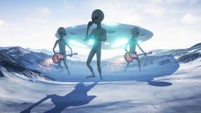 Les étrangers chantent et jouent des guitares sur leur planète à la maison de neige rendu 3d illustration stock