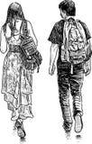 Les étudiants couplent sur une promenade Photographie stock libre de droits