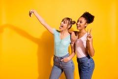 Les étudiants enthousiastes gais d'amusement de portrait beaux font à grimace de langue- de v-signe de photo l'été de vacances de images libres de droits