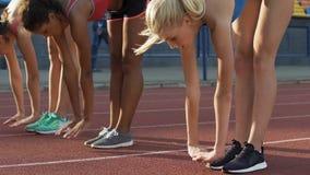 Les étudiants multiraciaux se penchant en avant étirant des jambes, faisant s'exerce au stade banque de vidéos