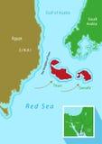 Les îles de Tiran et de Sanafir s'occupent entre l'Egypte et l'Arabie Saoudite Transfert de deux îles à KSA Clipart (images graph Images stock