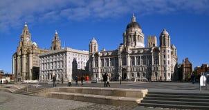 Les 3 graces, avant de l'eau de Liverpool Image libre de droits