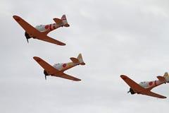 Les aéronefs de la deuxième guerre mondiale reconstituent l'attaque de Pearl Harbor Photo stock