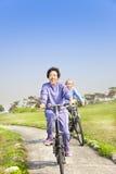 Les aînés accouplent faire du vélo en stationnement Image stock