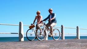 Les aînés actifs allant sur un vélo montent par la mer banque de vidéos
