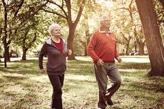 Les aînés actifs couplent avoir la récréation ensemble dans le parc Images stock