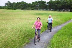 Les aînés asiatiques heureux couplent faire du vélo en parc Photos stock