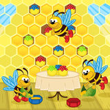 Les abeilles font le miel dans la ruche illustration de vecteur
