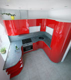 Les accents incurvés impressionnants de couleur de la moitié du siècle de cuisine, 3D rendent Images stock