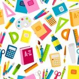 Les accessoires éducatifs de fournitures de bureau d'école ou dirigent le fond sans couture de modèle d'illustration illustration de vecteur