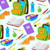 Les accessoires éducatifs de fournitures de bureau d'école ou dirigent le fond sans couture de modèle d'illustration illustration libre de droits