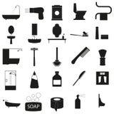 Les accessoires de Bath ont placé l'icône noire de vecteur sur le blanc Photo libre de droits