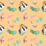 Les accessoires de charme, turquois barrel le type sac, rouge à lèvres, parfum, chaussures en cuir de talon de chaton, se sont le illustration de vecteur