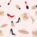 Les accessoires de mode modèlent sans couture pour le textile, empaquettent, couvrent Actions de vecteur illustration de vecteur