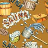 Les accessoires de sauna ont placé le modèle sans couture Illustration de Vecteur